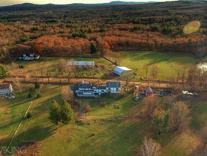 drone view of farm and land