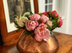 flowers on a copper pot
